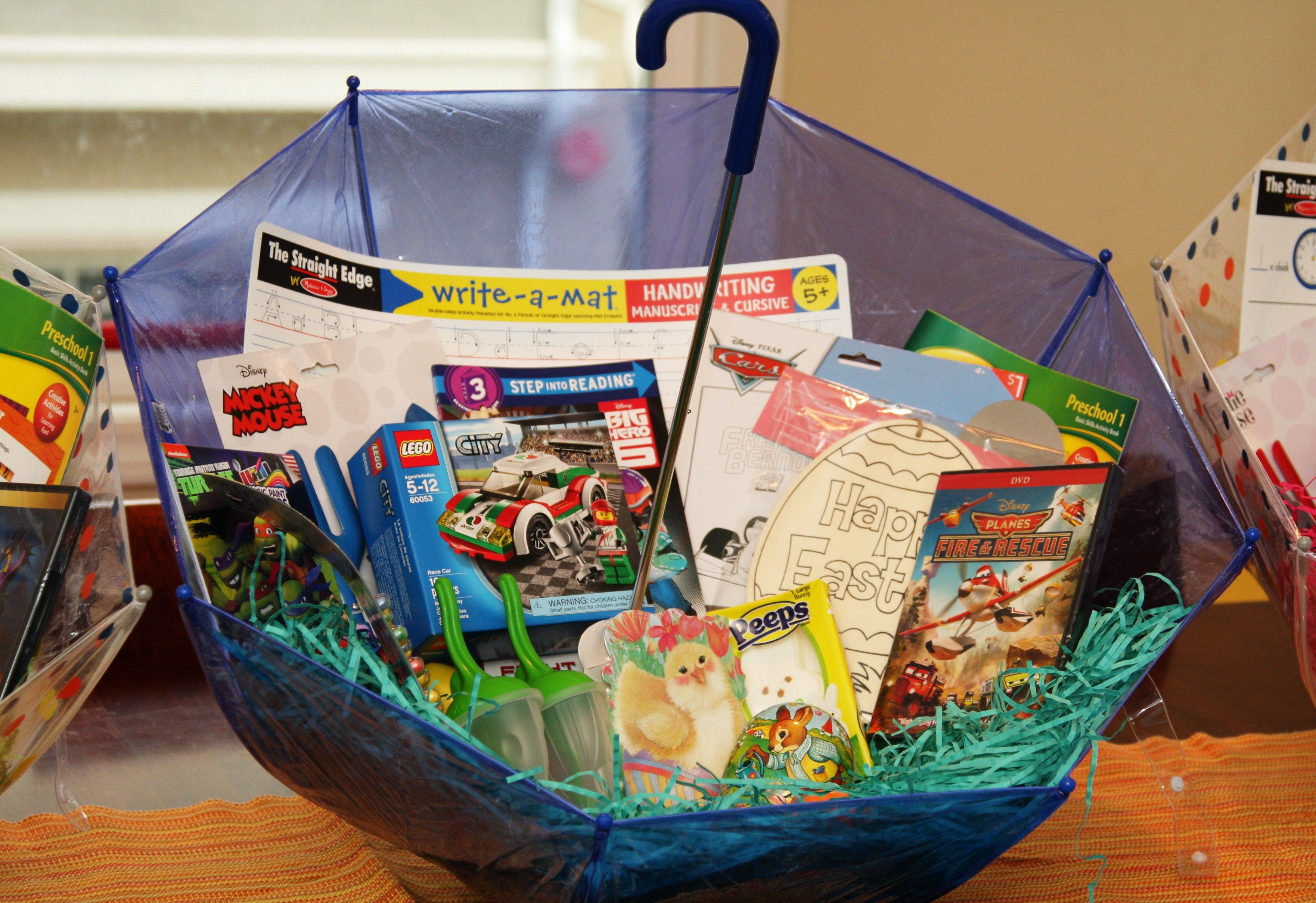 Make your own umbrella easter baskets non candy centered allergy easter basket ideas mostly candy free negle Images