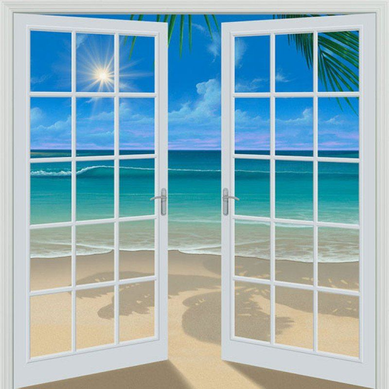 Doorway To Paradise 80 X 84 French Door Wall Mural French Doors Bathroom Wall Mural French Doors Interior