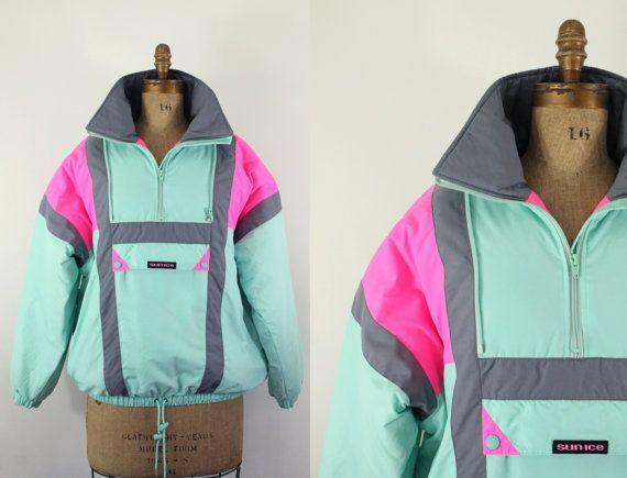 6ce494e427 Ski jacket - vintage neon 80s ski jacket - color block puffy jacket ...