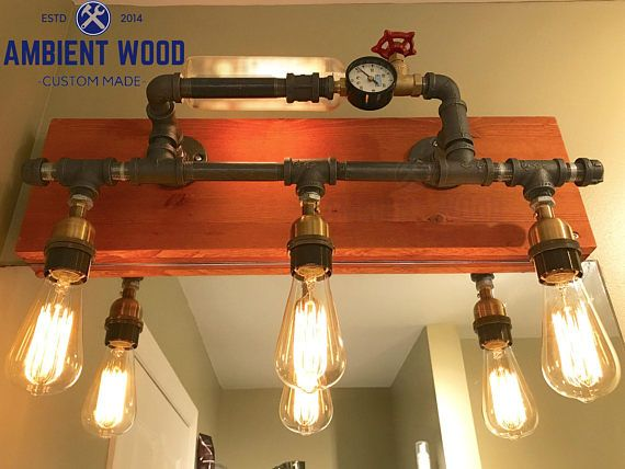 Pipe wood panel Industrial Bathroom Vanity Light Fixture Bar ...