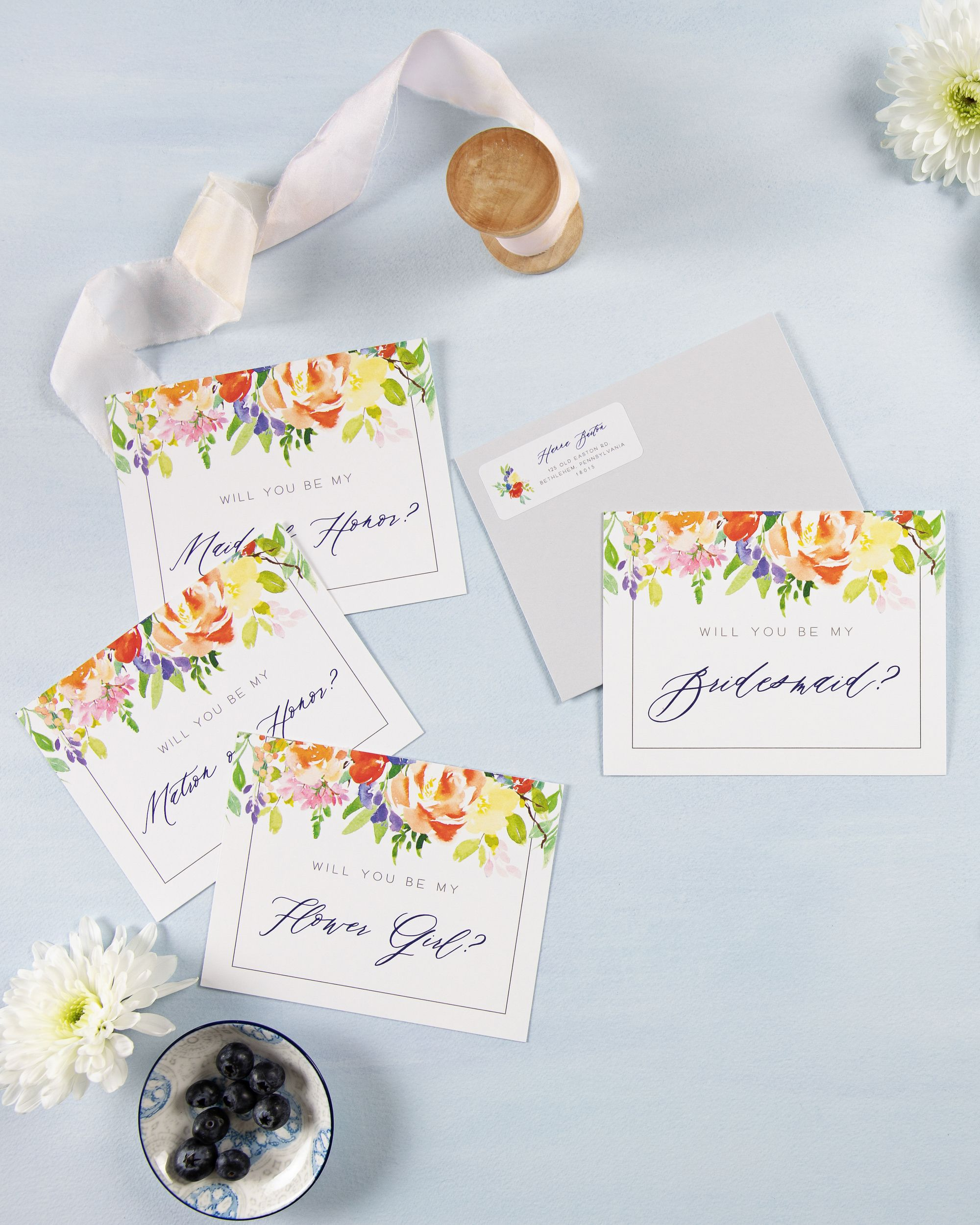 Bright Watercolor Floral Will You Be My Bridesmaid? Card