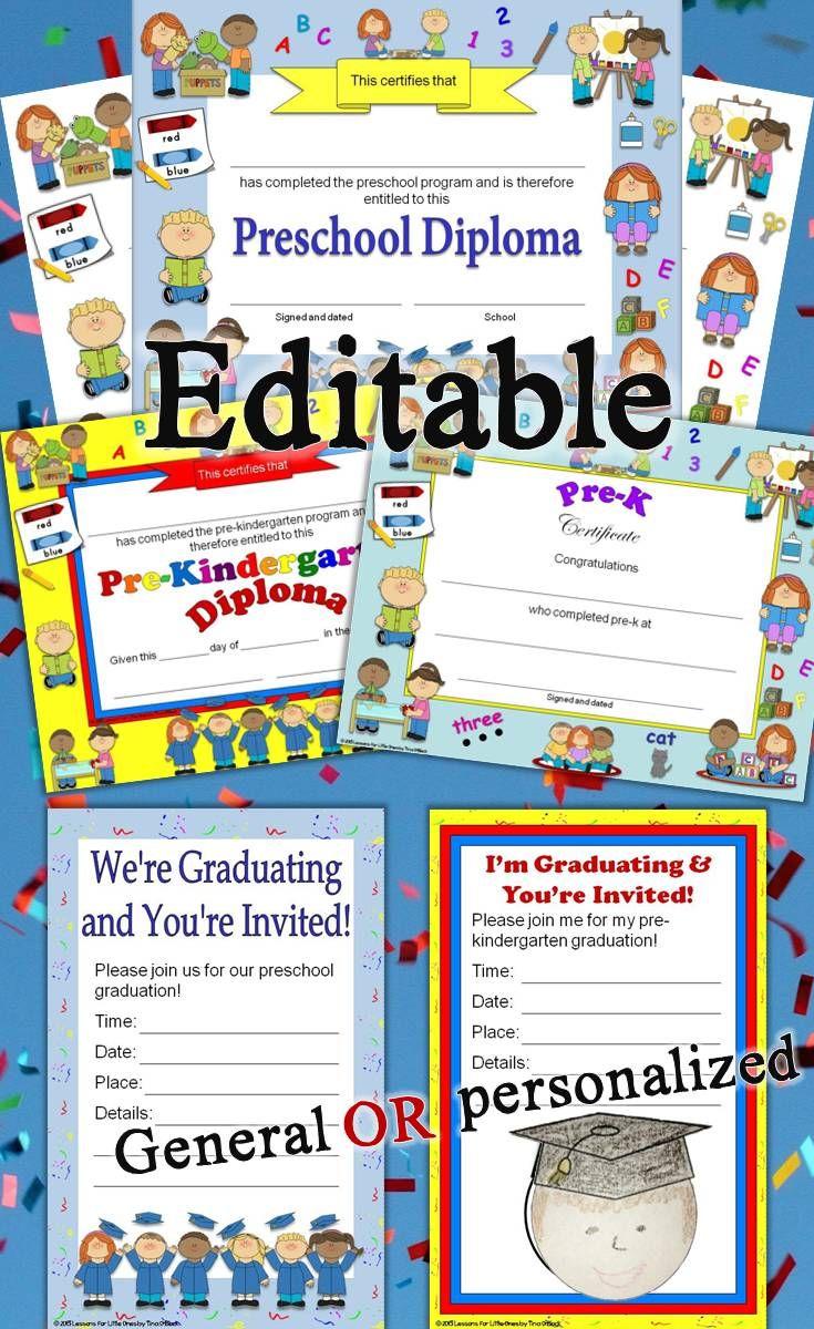 Preschool Diplomas, Certificates, Graduation Invitations Editable ...