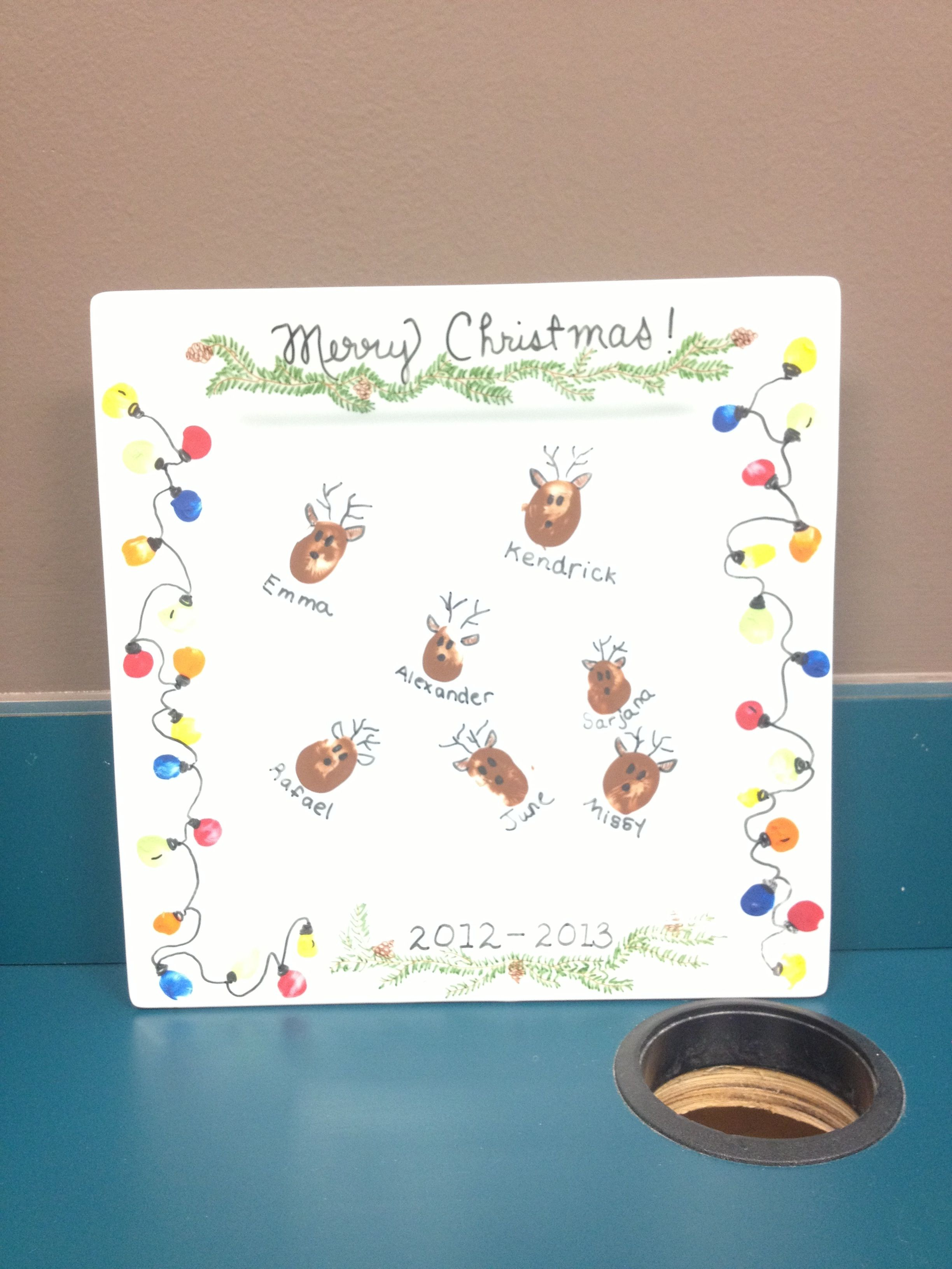 Thumbprint Reindeer And Fingerprint Christmas Lights A Class Gift For