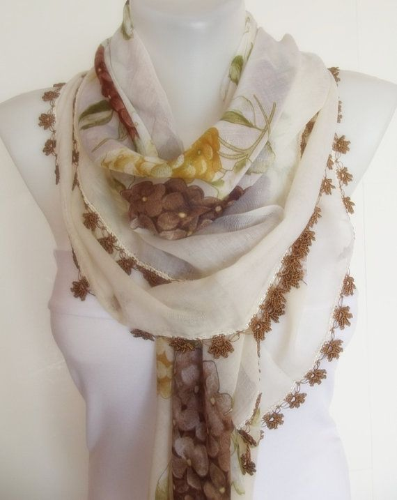 Turkish traditional YEMENI scarf shawl with OYA by sultanofcolours, $24.90