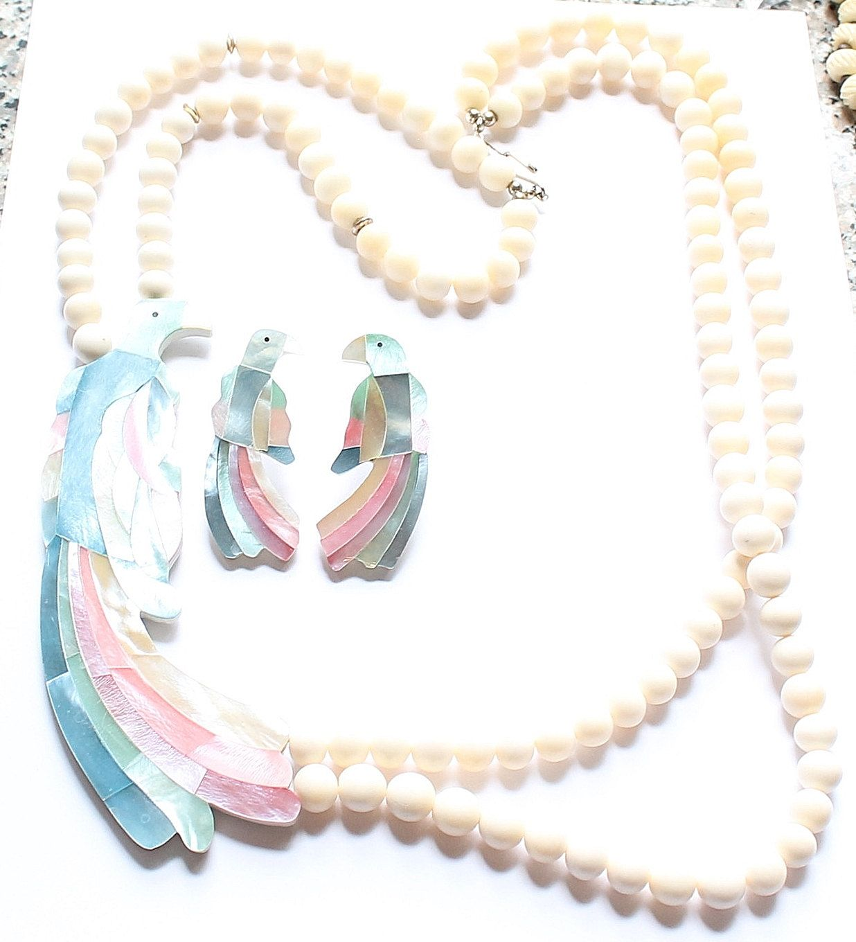 Large, Statement Mother of Pearl Inlay Parrot Bird Pendant Necklace with Matching Earrings by paststore on Etsy