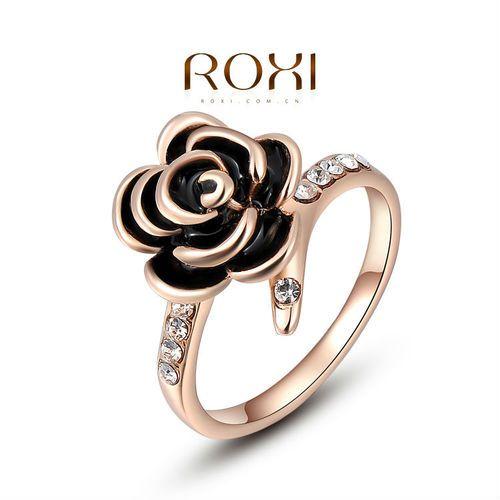 "ROXI 18 k vergoldete Ring ""Black Rose"""