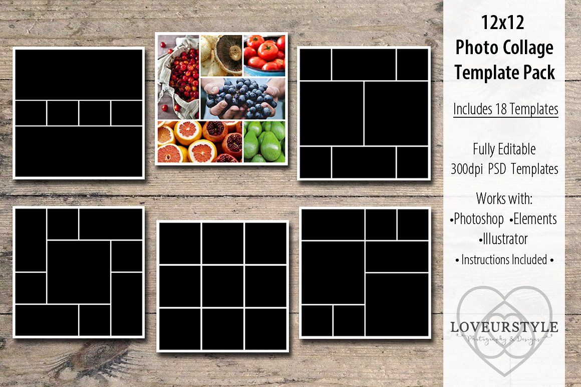 12x12 Photo Collage Template Pack Photo Collage Template Photo Collage Collage Template