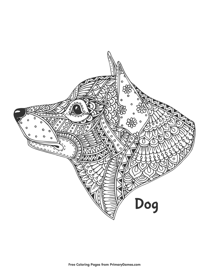 Gallery Zentangle Dog Head Coloring Page • FREE Printable eBook is free HD wallpaper.