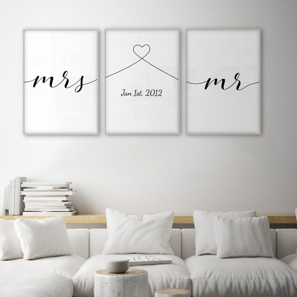Mrs Mr Love Quotes Poster Minimal Wall Art Canvas Print Couple