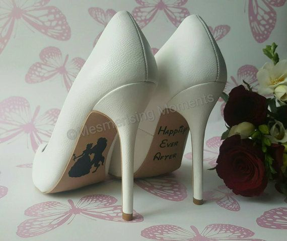68746d6f1a03 Wedding Shoe Decal Sticker   Beauty and the Beast   Happily Ever ...