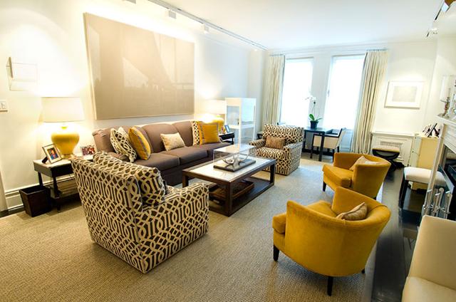 upholstery | Brown living room decor, Yellow living room ...