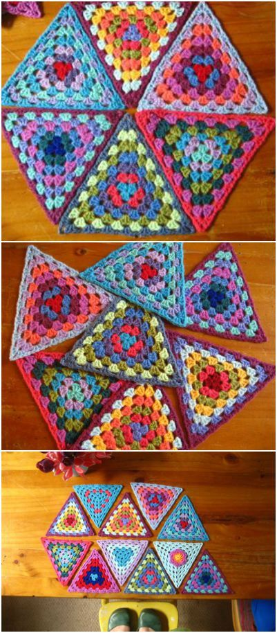 Granny Bunting Crochet Triangles [Pattern/Video | Tejido, Cuadrados ...