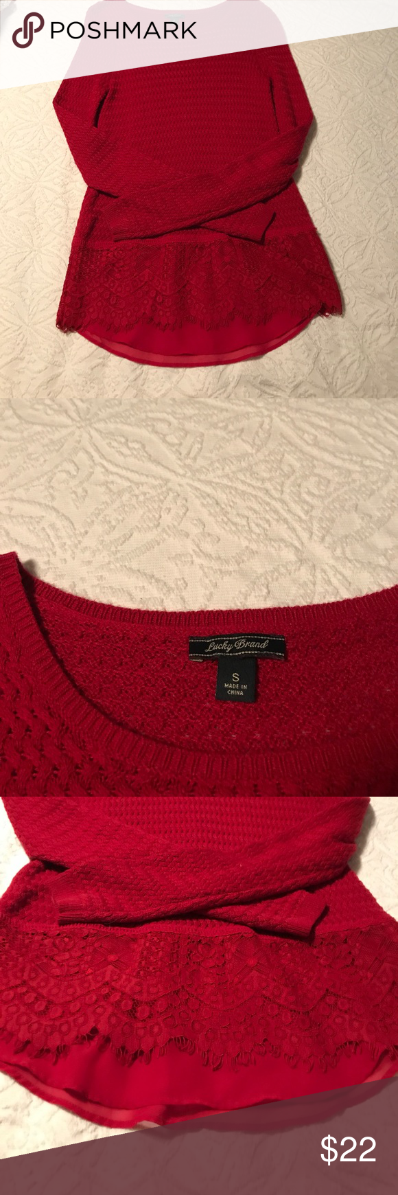 Lucky brand pretty red sweater | Red sweaters and Lace detail