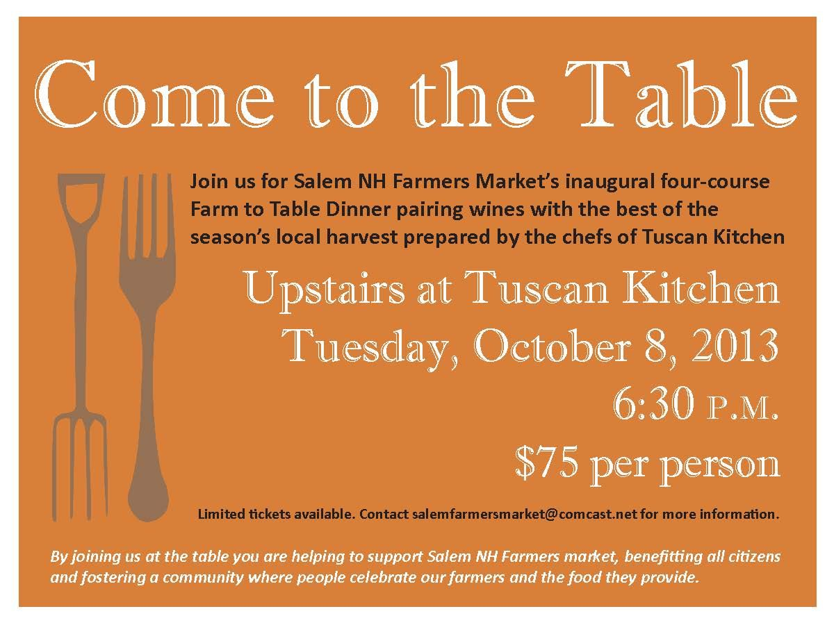 Salem Nh Farmers Market Farm To Table Dinner Dinner Invitations