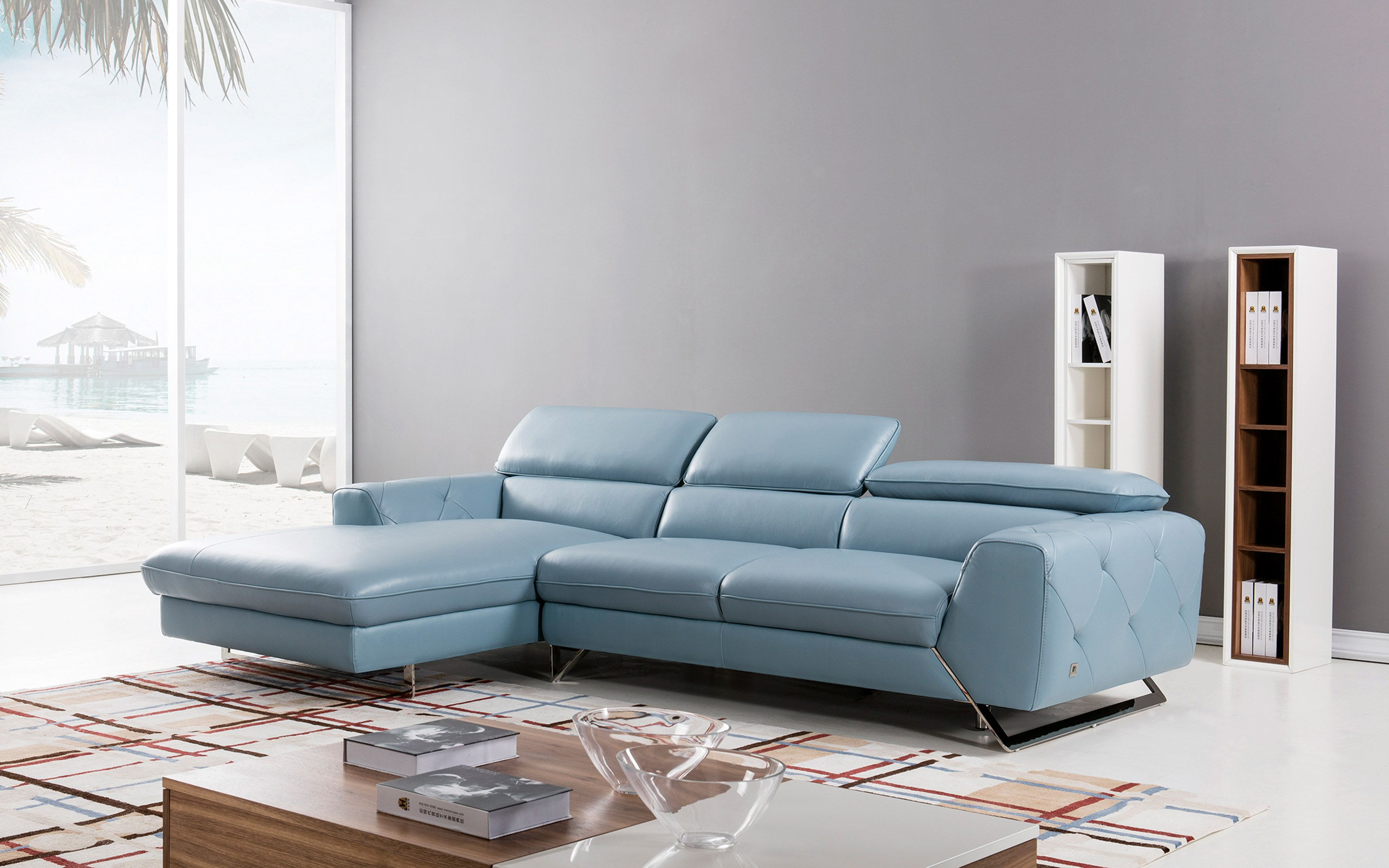 Graceful Tufted Italian Top Grain Leather Sectional Sofa Top
