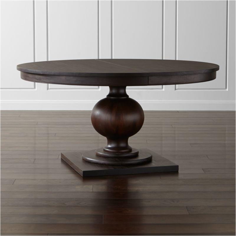 Shop Winnetka 60 Round Dark Mahogany Extendable Dining Table Designer Blake Tovin S Richly A Round Extendable Dining Table 60 Round Dining Table Dining Table