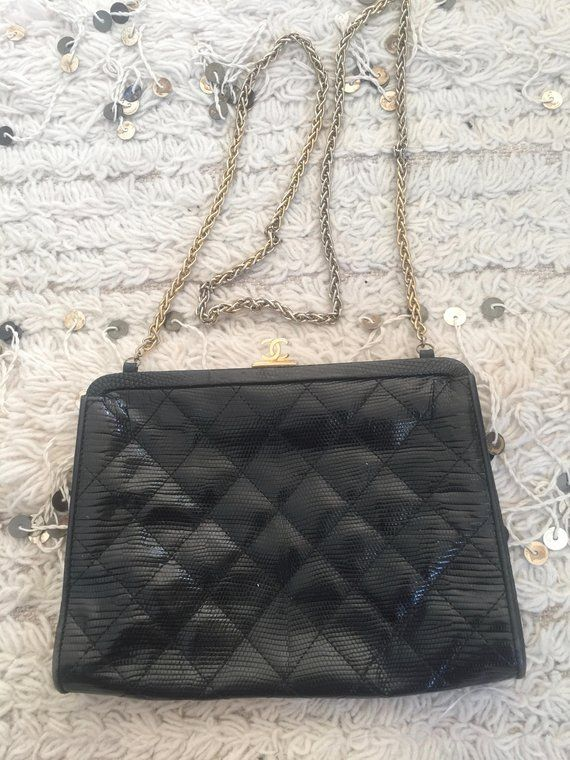 971ddb6307d0f2 Vintage CHANEL CC Logo Frame Brown Quilted LIZARD Leather Chain Shoulder  Bag Purse Evening Clutch