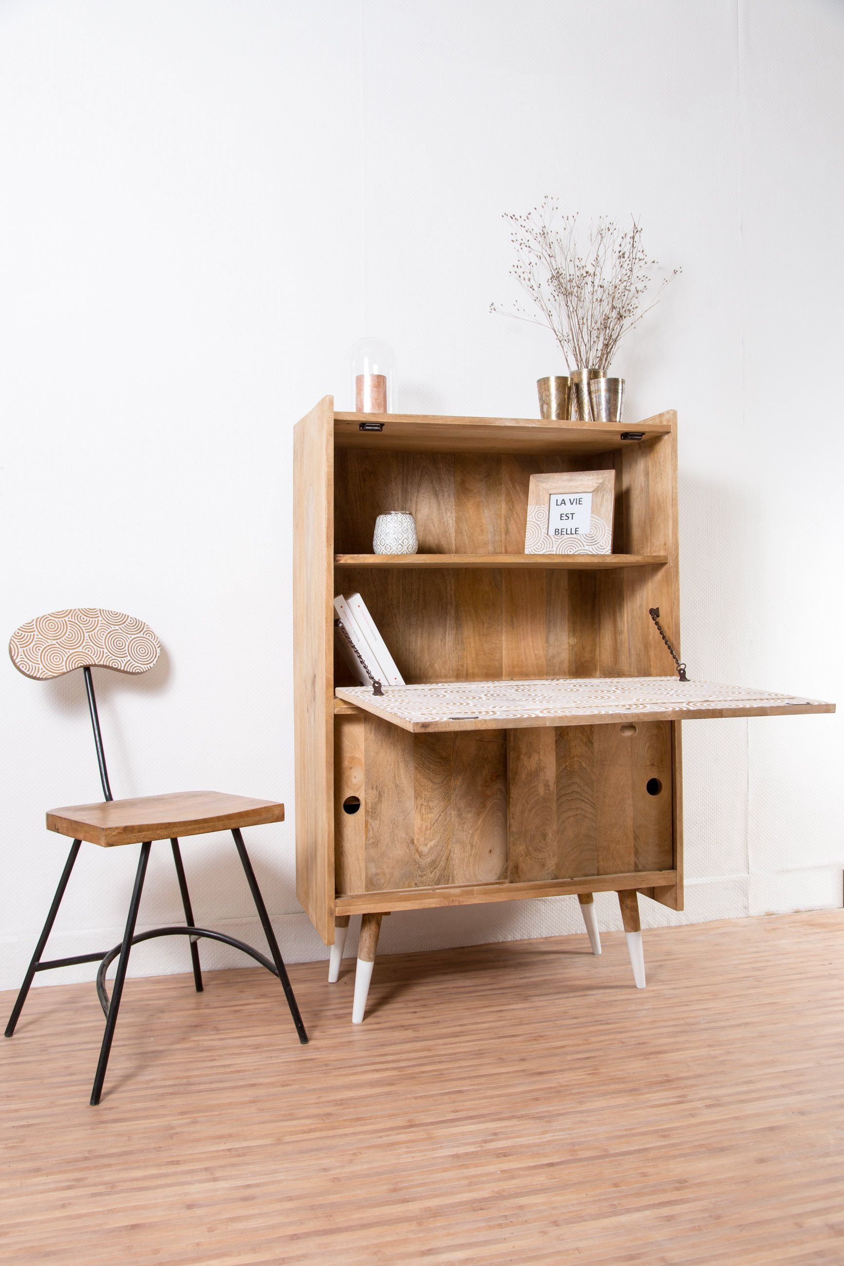 a cute and clever desk with collapsible shelf and storage made artisalement solid mango wood
