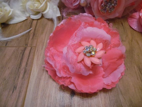 Stunning  Pink Fabric Lace Rose Vintage  by gypsycowgirlchic