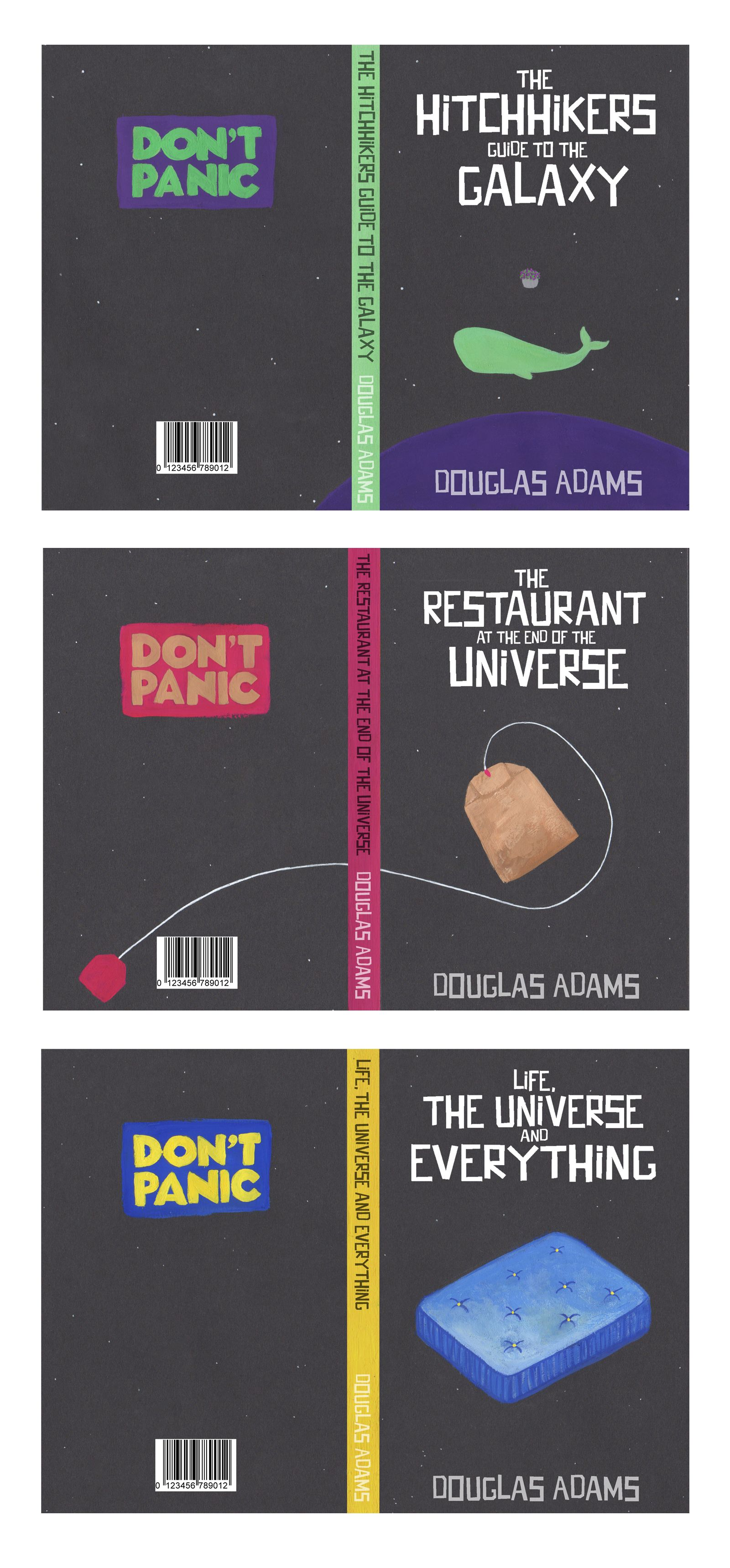Speculative covers for Douglas Adams' Hitchhikers series. Aimed at a young adult audience.