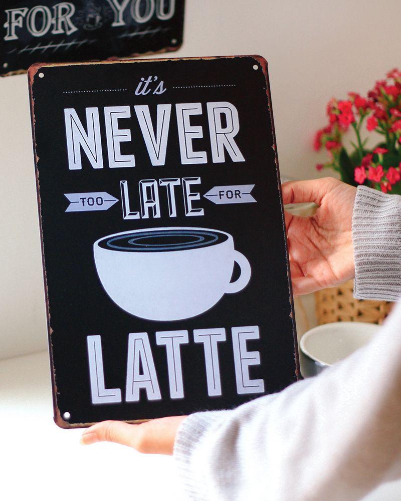ديكور ركن القهوة لوحات معدنية متوفرة على متجرنا Spirituality Energy Latte College Fashion