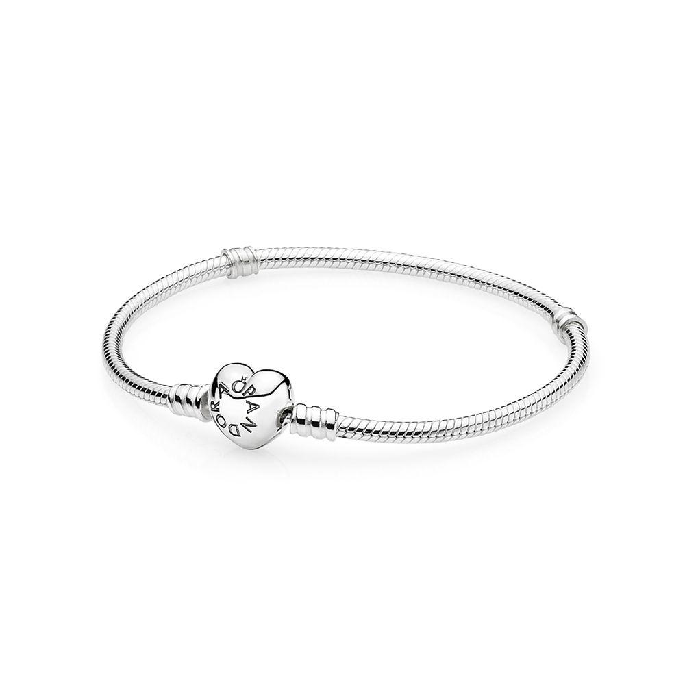 585ec1be0 Details about Pandora authentic Smooth silver clasp charm bracelet 590728-18  womans 7.1