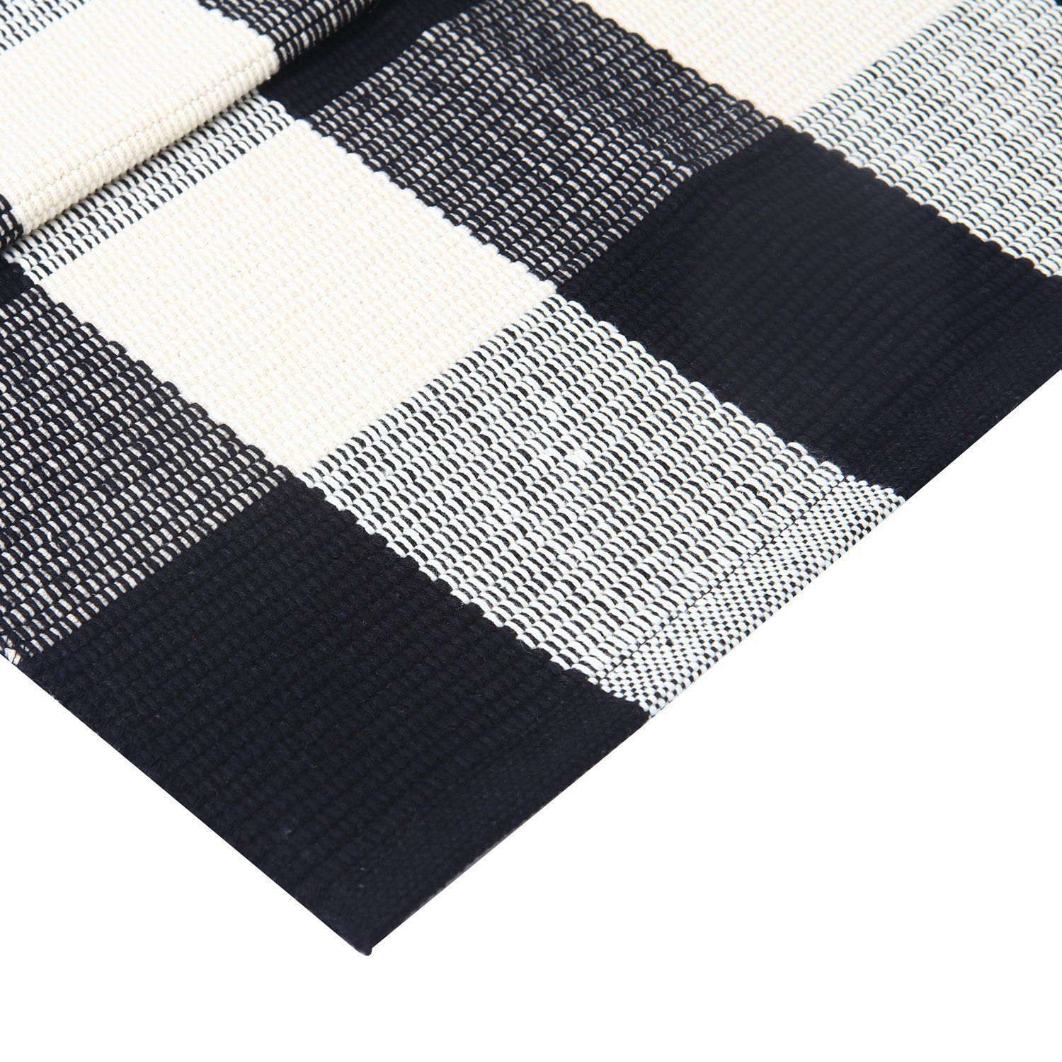 Com Winwinplus 100 Cotton Plaid Rugs Black White