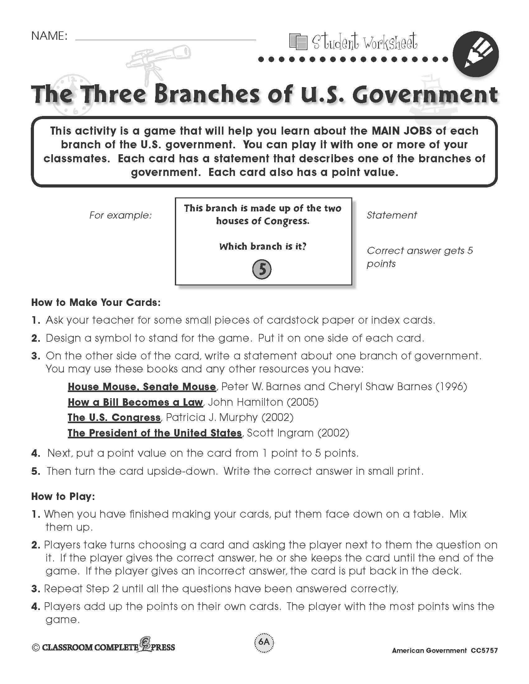 American Government Worksheet Answer Key