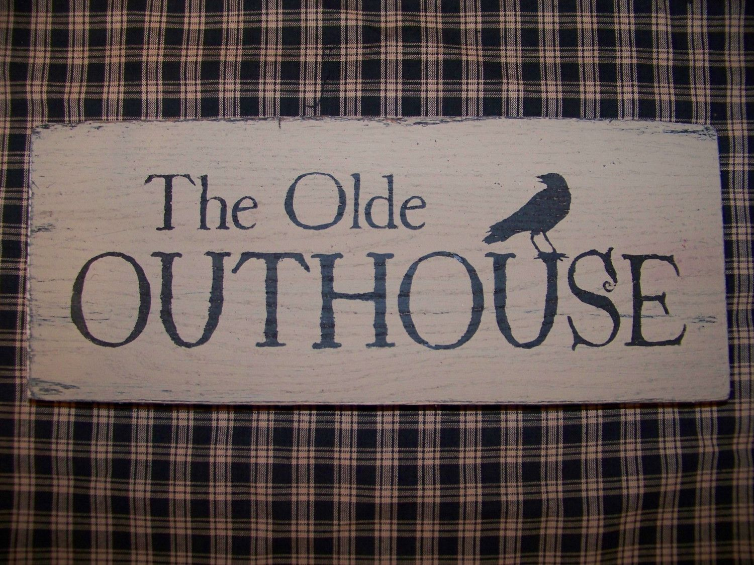 Primitive bathroom decorating ideas - Primitive The Olde Outhouse Wood Sign Crow Bathroom Decor Country Bath Accent Rustic Charm Black And Tan Grungy Folk Art Prim Make Do Cabin Look Rough Edges