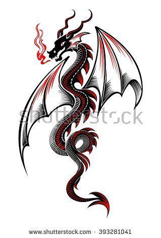 Black And Red Tribal Dragon Tattoo Vector Illustration Small Dragon Tattoos Dragon Tattoo Drawing Tribal Dragon Tattoo