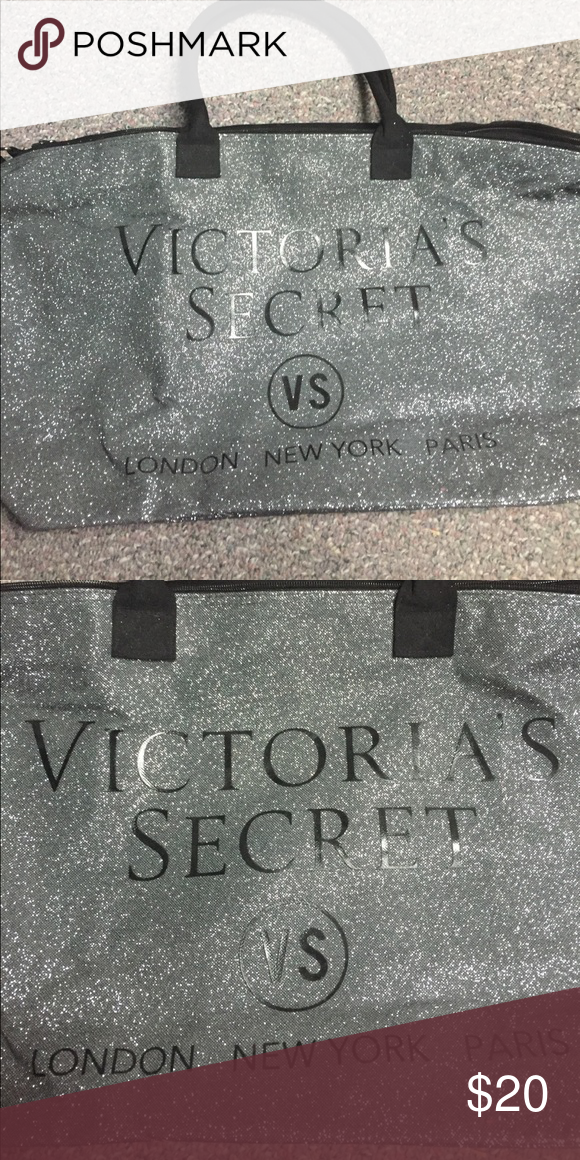 Victoria's Secret Travel Tote Silver Glitter Victoria's Secret Travel Tote. Never used Victoria's Secret Bags Travel Bags