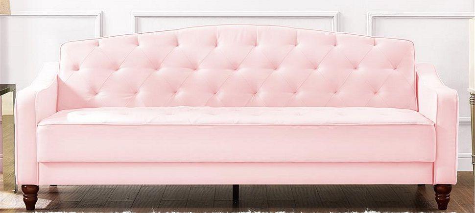 9 By Novogratz Vintage Tufted Sofa Sleeper Ii Pink Tufted Sofa Sleeper Sofa Living Room Sofa