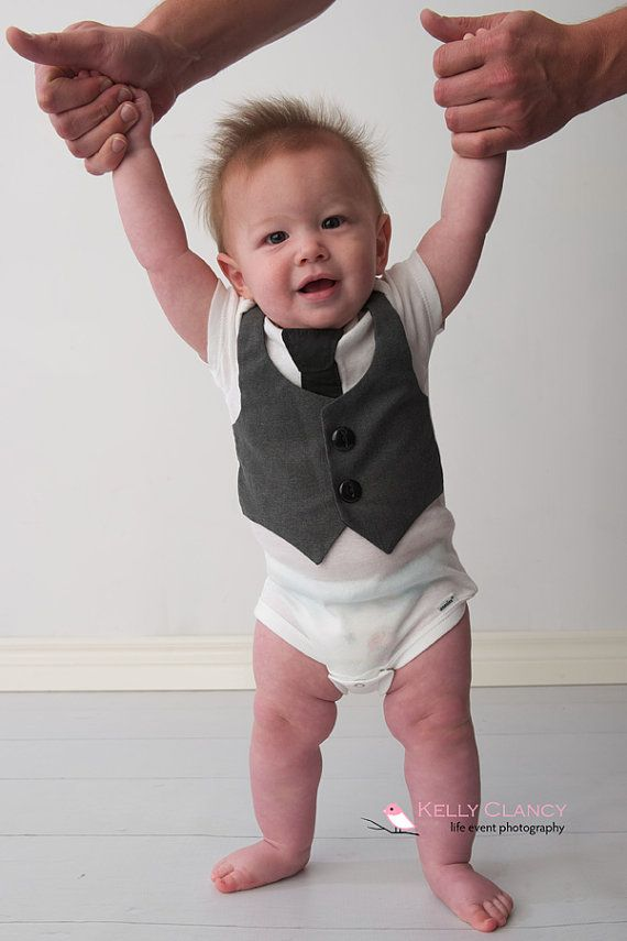 Baby Vest And Tie Gray Boys Onesie Newborn Clothes Boy