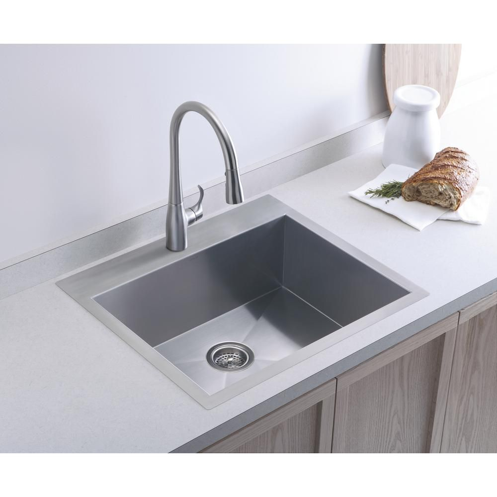Kohler Vault Dual Mount Stainless Steel 25 In 4 Hole Single Bowl Kitchen Sink Kit With Basin Rack K 3822 4 Na The Home Depot Replacing Kitchen Countertops Kitchen Remodel Sinks Kitchen Stainless