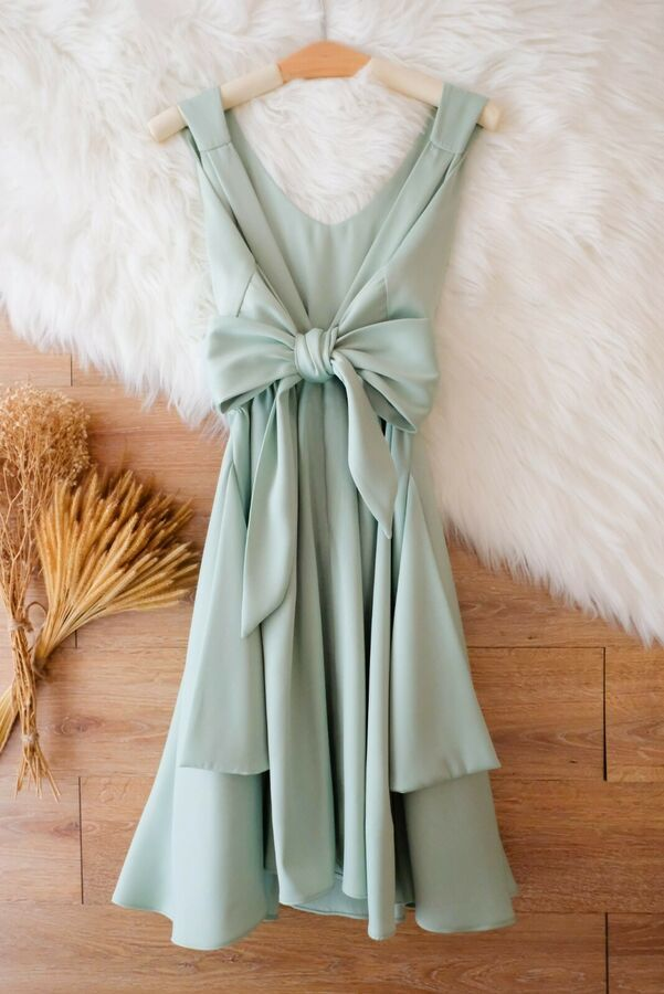 SALE Sage Green dress Backless party prom cocktail wedding bridesmaid dress S #Ad , #Affiliate, #dress#Backless#Green #sagegreendress