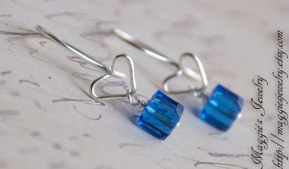 Heart Earrings Sterling Silver Sapphire Blue Glass Beads