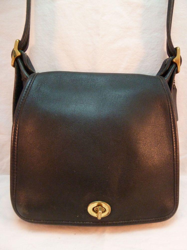 Vintage Coach Purse Small Black Leather Saddlebag Flap Front