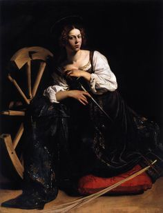 Caravaggio, Saint Catherine of Alexandria, 1598,  the light is so delicate in paintings by Caravaggio. The way he could paint was in strong contrast with how he lived his life.