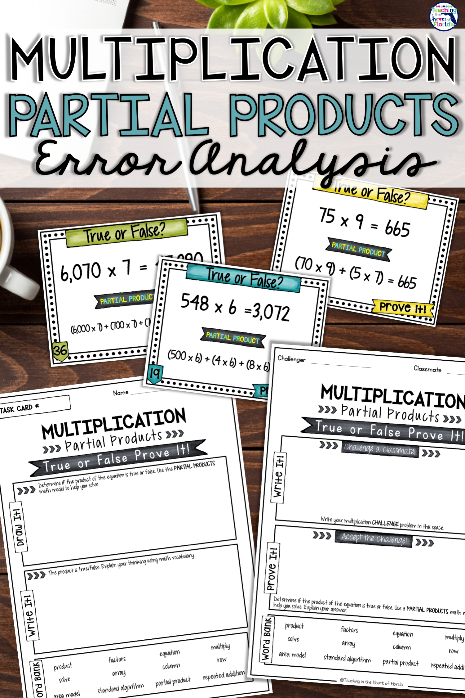 Multiplication Partial Products Task Cards Errorysis
