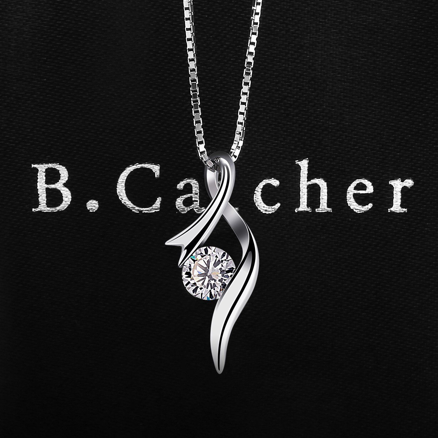 fe90ef181 B.Catcher Necklaces Womens Pendant 925 Silver Cubic Zirconia Christmas Gift  with Gift Box -