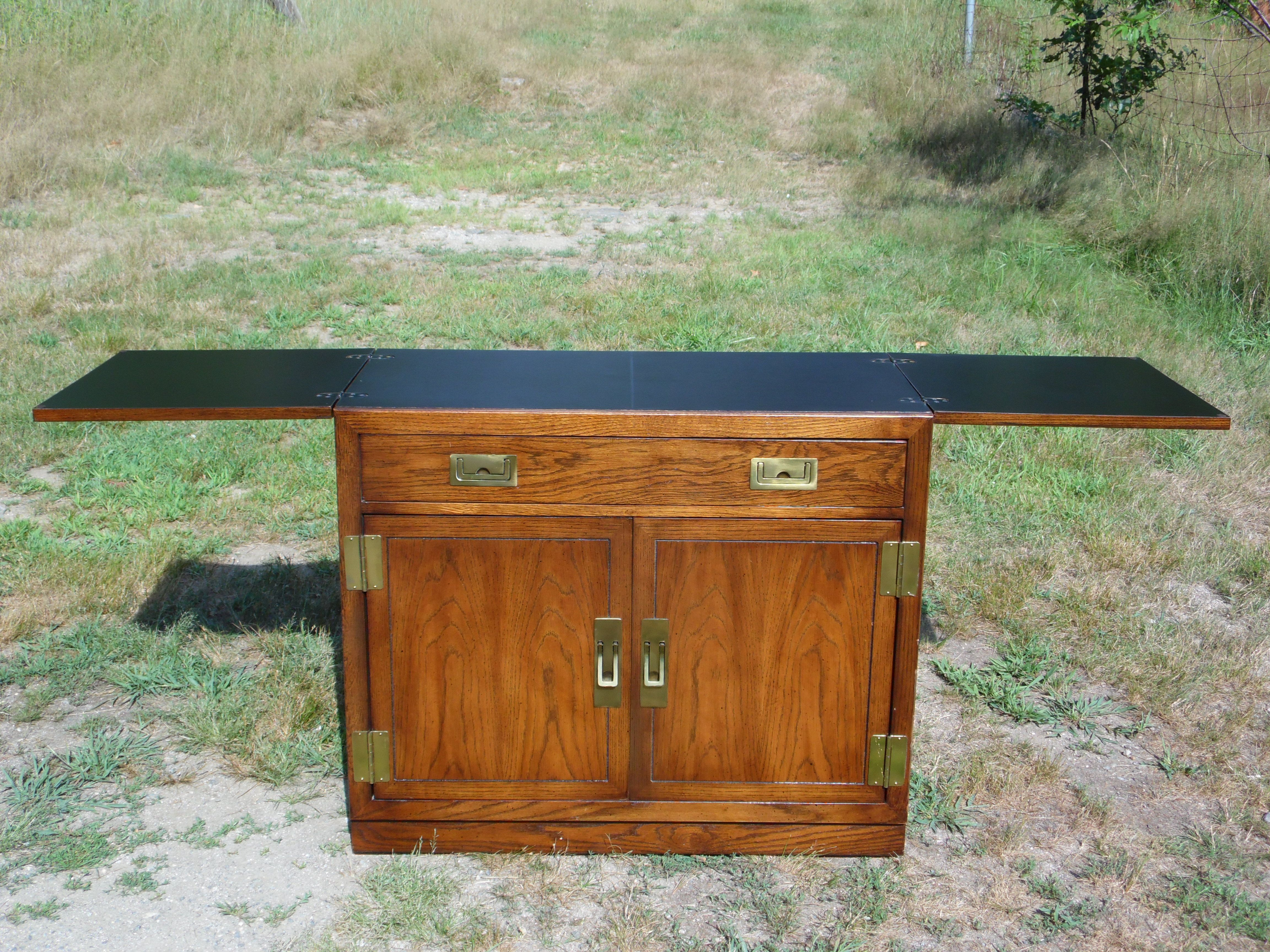 Vintage Dixie Mid Century Modern Campaign Serving Bar Cart Has 2 Extension Leaves That Flip Open