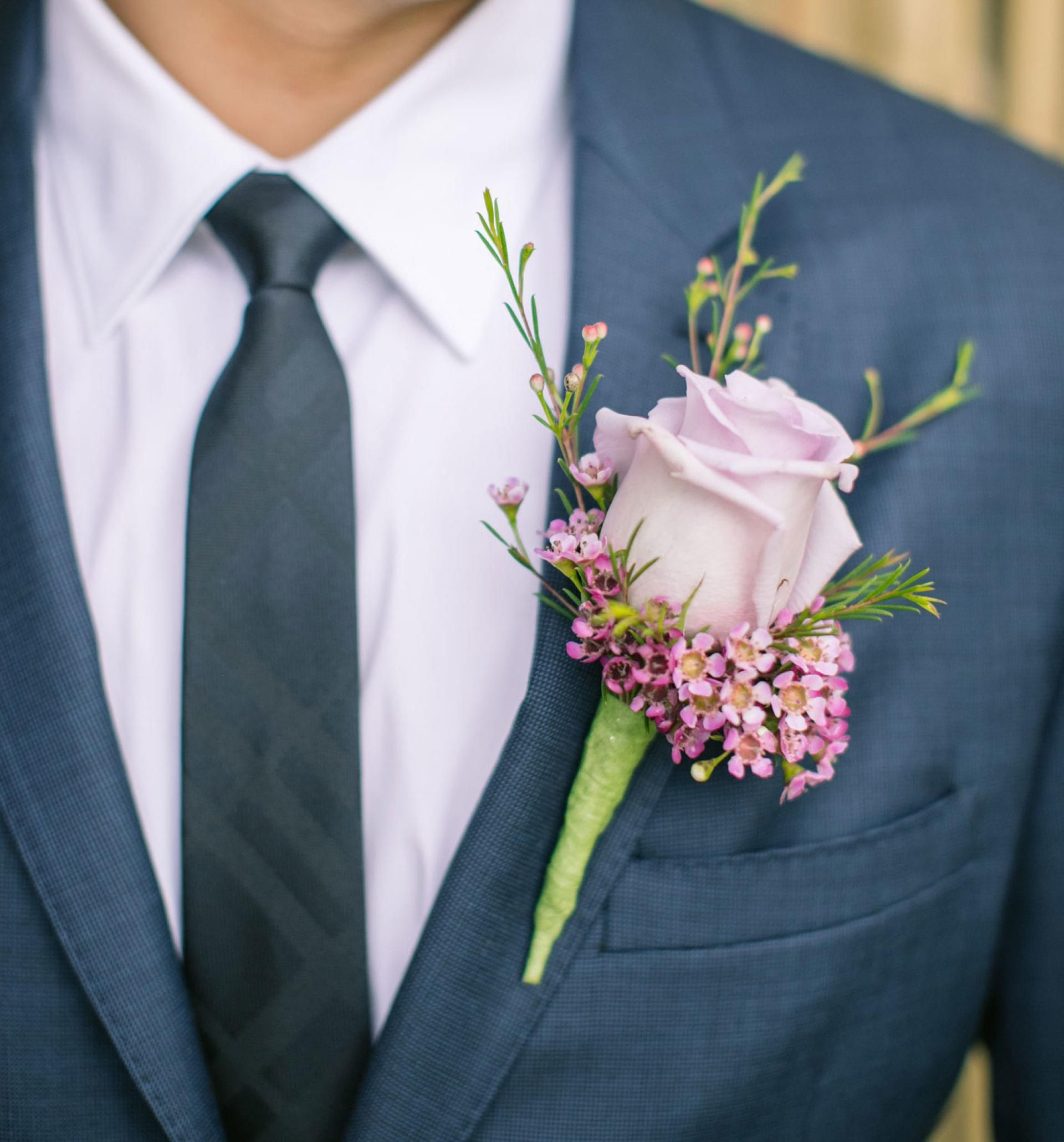 White Rose Boutonniere, Navy Suit, Groom Outfit // Clane