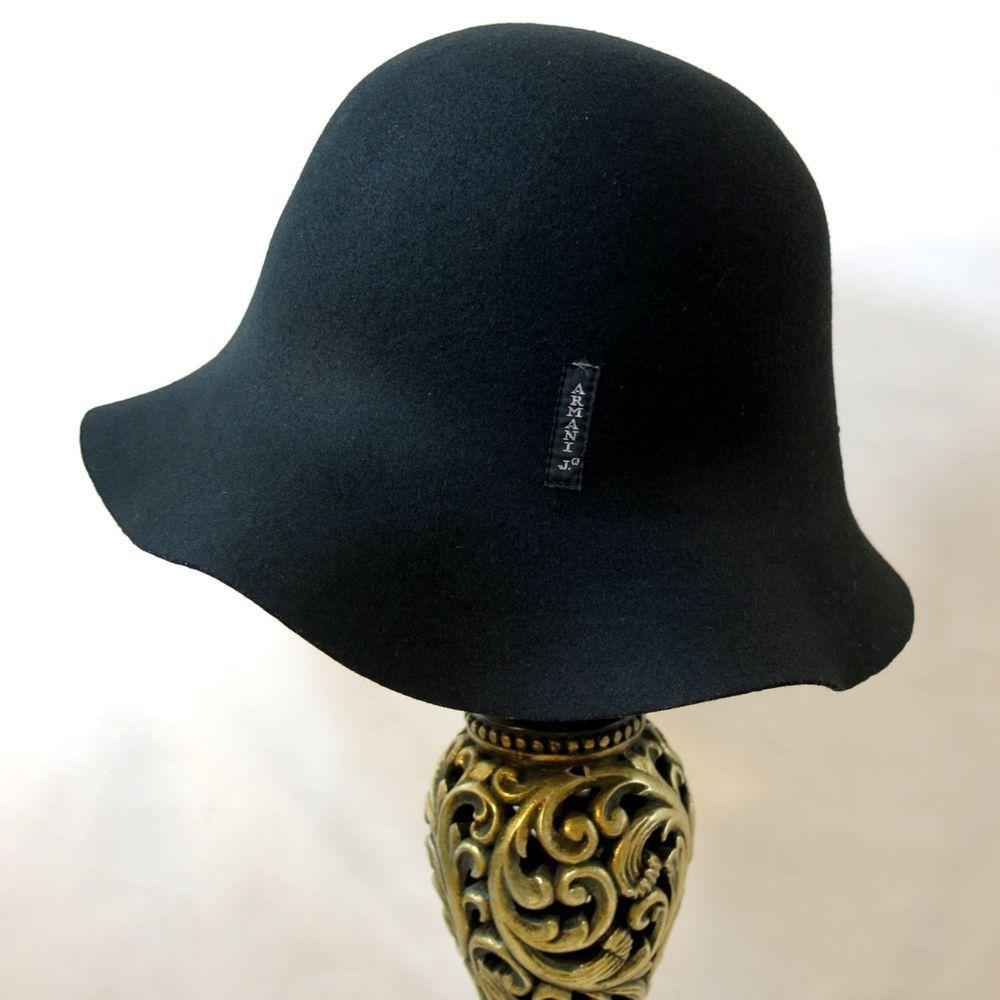 """ARMANI JEANS AJ Black Cloche Bucket Hat Wool Italy 22"""" SZ I c77331a9f44"""
