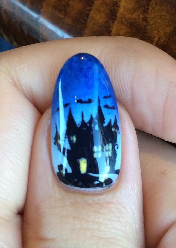 Haunted house, Halloween Gelish nail art! | Gelish nails ...
