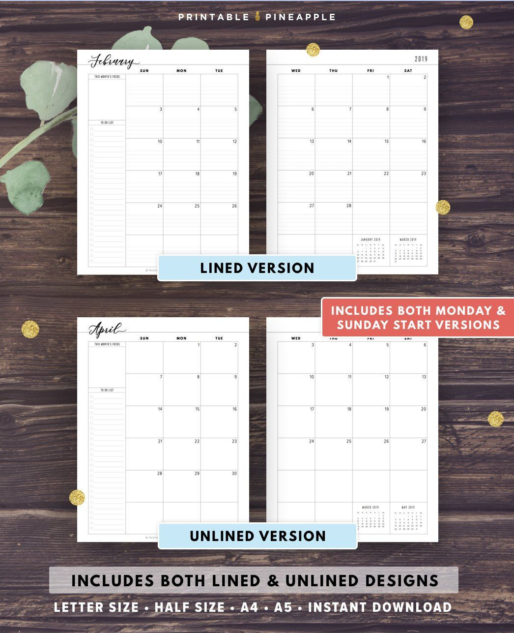 2020 Monthly Planner Printable 2020 Agenda Filofax A5 Half Size