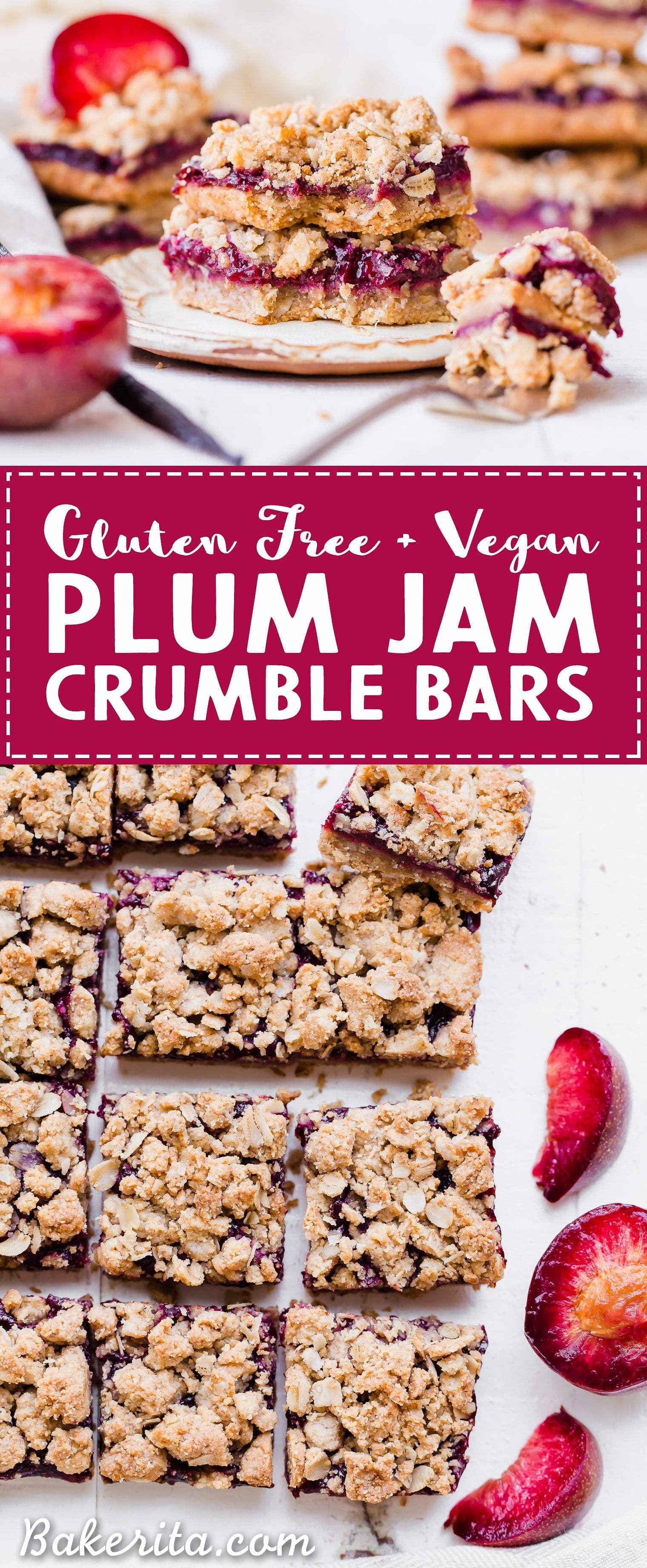 Plum Crumble Bars Recipe Plum Recipes Tray Bake Recipes