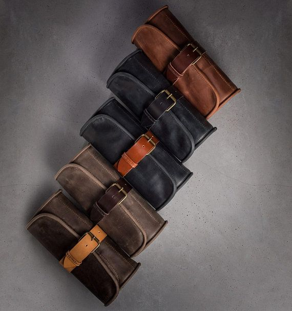 f4a6e8cdfe Barber toiletry roll Brown wash bag Amenities kit Leather Dopp kit Hanging wash  bag Barber toiletry
