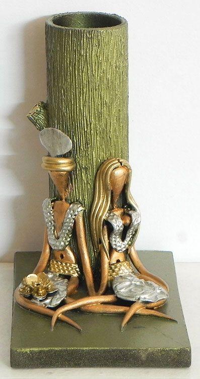 Resin Tribal Couple With Wooden Flower Vase Indian Art Pinterest
