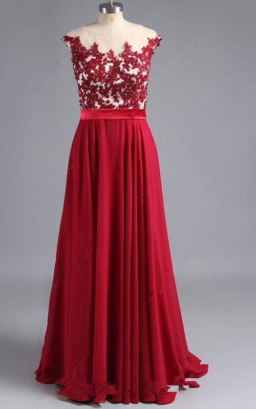 Red Sleeveless Beading Appliques Lace Scoop Neck Chiffon Tulle Floor Length  A Line Long Prom Dress