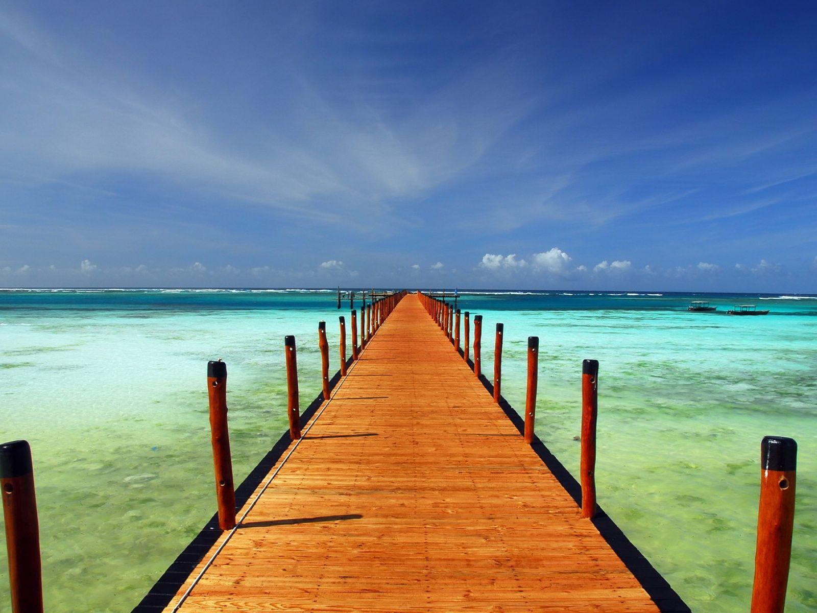 Fond d'ecran Ponton mer Turquoise | Paysage ciel, Fond d'écran ciel, Paysage